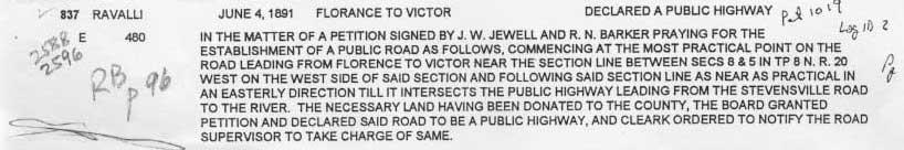 "<font size=""4""><B> Public Road or Private Access??<br>Crystal Lane was declared a public road (with access to the Bitterroot River) in 1891 <br>It is now being used as a private access (with locked gate) to RCFWA property,<br>Crystal Lane has never been officially abandoned.</B></font> -"